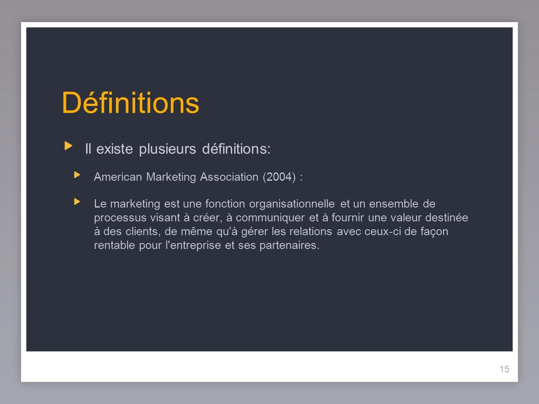 15 Définitions Il existe plusieurs définitions: American Marketing Association (2004) : Le marketing est une fonction organisationnelle et un ensemble
