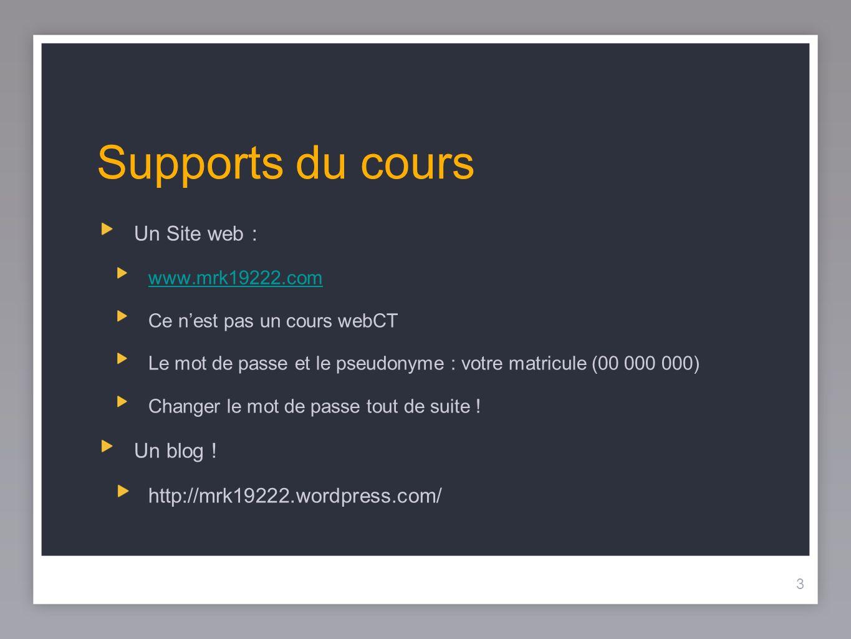 3 Supports du cours Un Site web : www.mrk19222.com Ce nest pas un cours webCT Le mot de passe et le pseudonyme : votre matricule (00 000 000) Changer