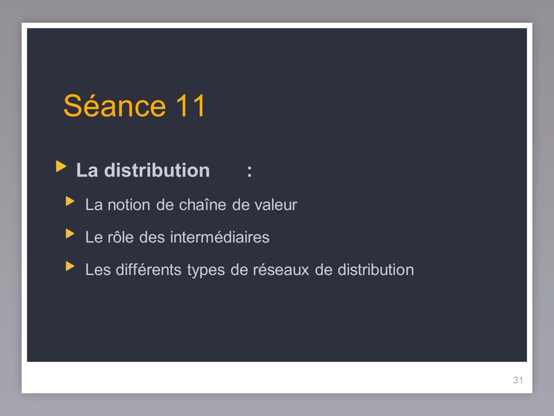 31 Séance 11 La distribution: La notion de chaîne de valeur Le rôle des intermédiaires Les différents types de réseaux de distribution