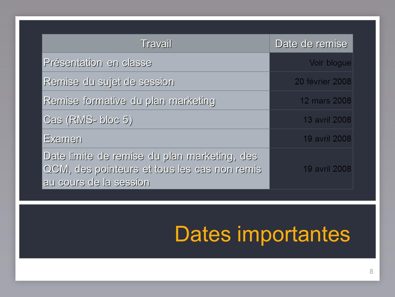 8 Dates importantes 8Travail Date de remise Présentation en classe Voir blogue Remise du sujet de session 20 février 2008 Remise formative du plan mar