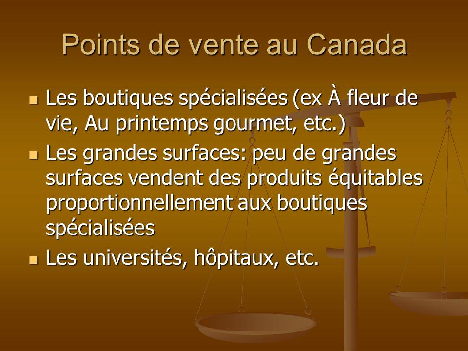 Points de vente au Canada Les boutiques spécialisées (ex À fleur de vie, Au printemps gourmet, etc.) Les boutiques spécialisées (ex À fleur de vie, Au