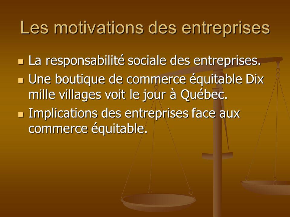 Les motivations des entreprises La responsabilité sociale des entreprises. La responsabilité sociale des entreprises. Une boutique de commerce équitab