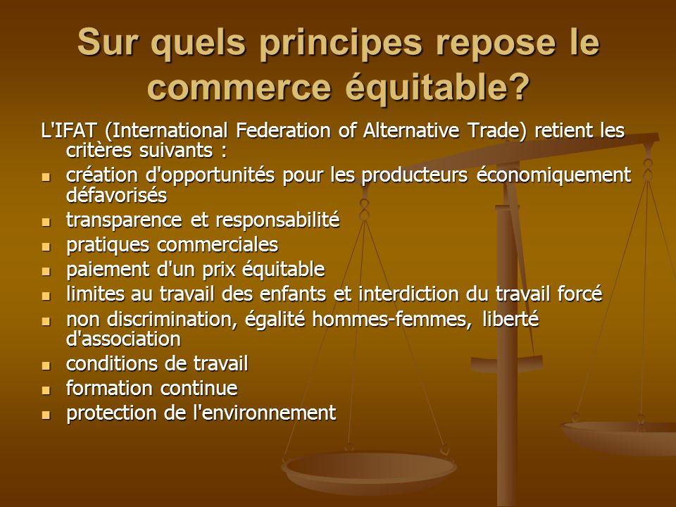 Sur quels principes repose le commerce équitable? L'IFAT (International Federation of Alternative Trade) retient les critères suivants : création d'op