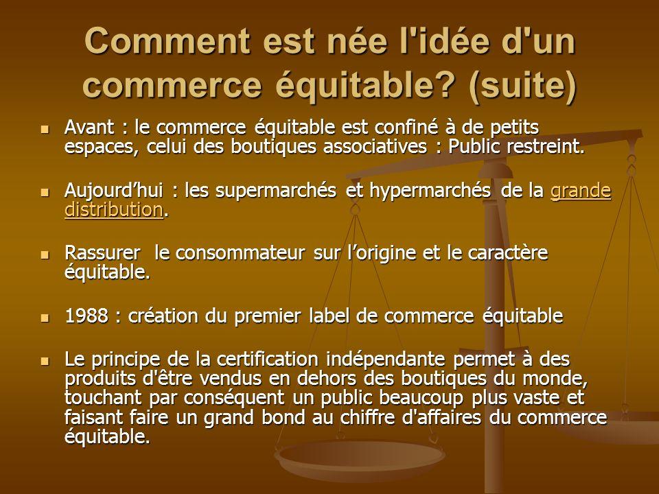 Comment est née l'idée d'un commerce équitable? (suite) Avant : le commerce équitable est confiné à de petits espaces, celui des boutiques associative