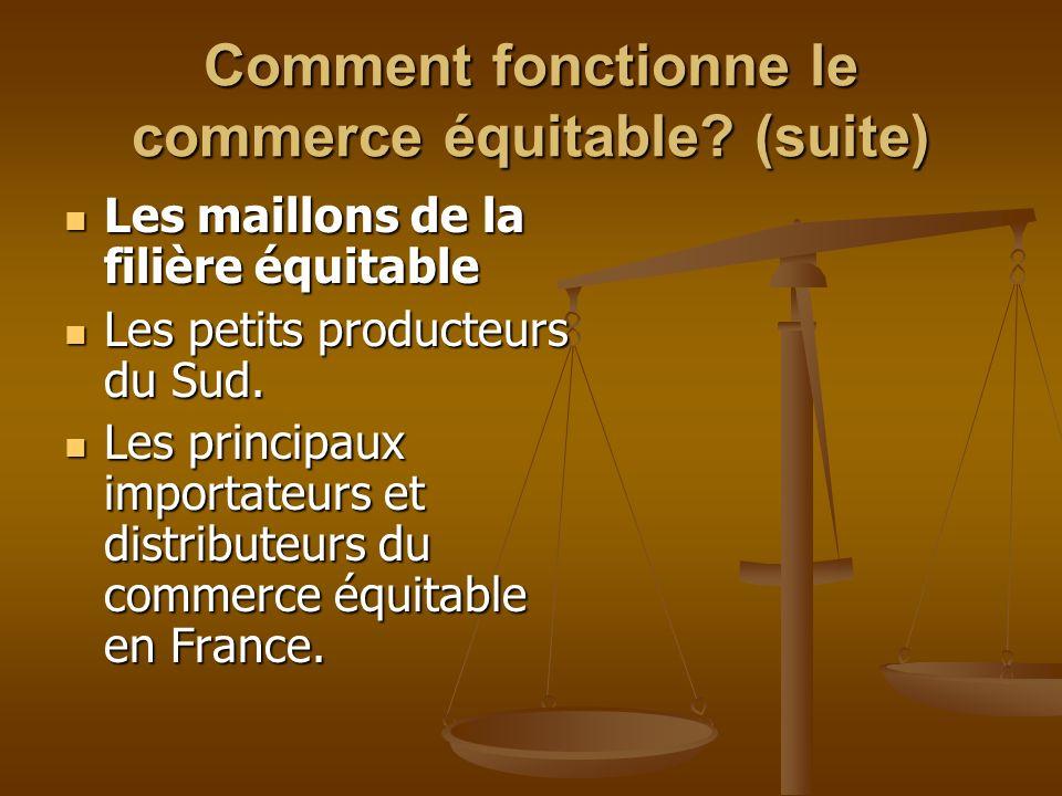 Comment fonctionne le commerce équitable? (suite) Les maillons de la filière équitable Les maillons de la filière équitable Les petits producteurs du