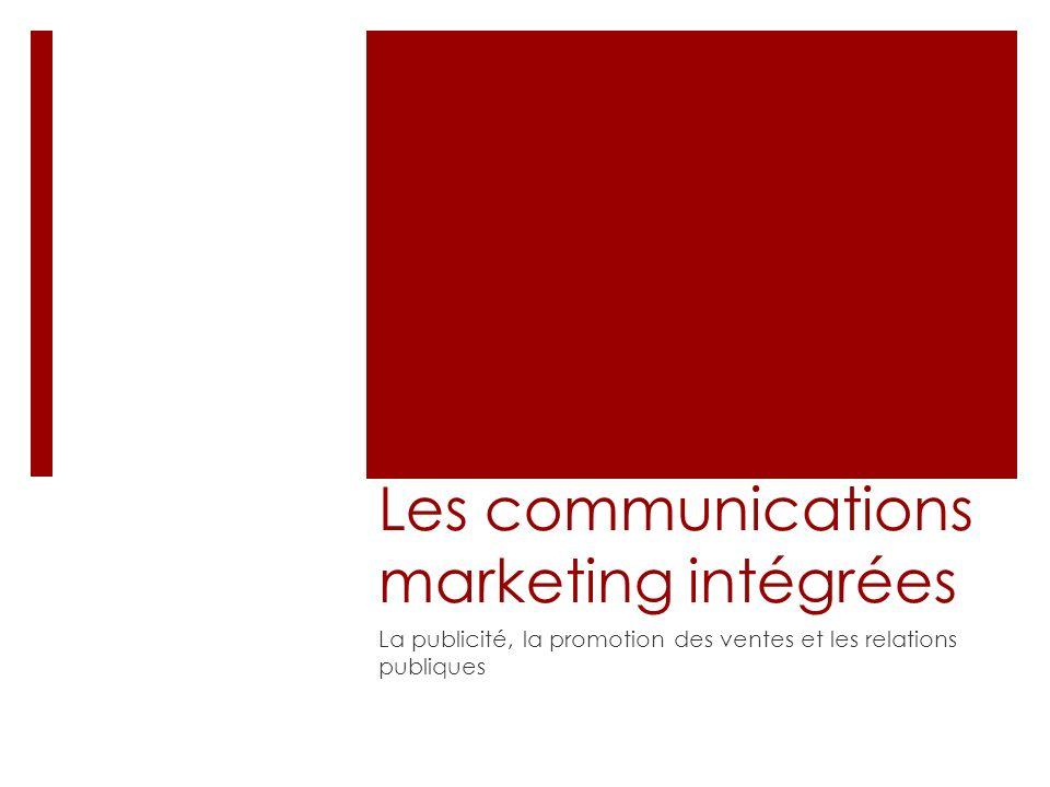 Les communications marketing intégrées La publicité, la promotion des ventes et les relations publiques