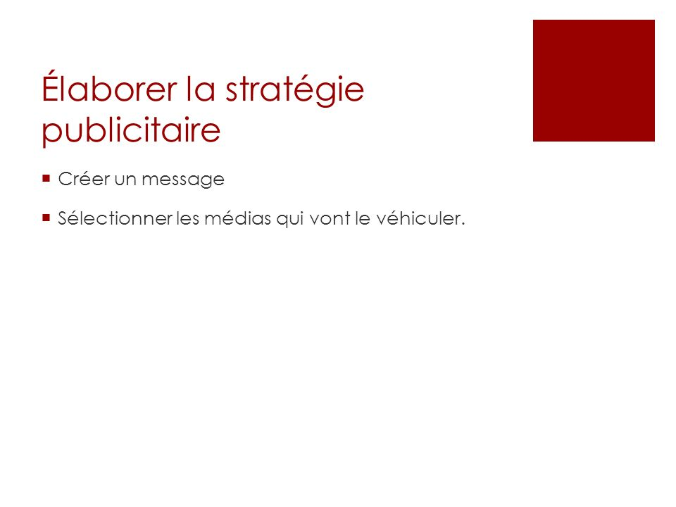 Élaborer la stratégie publicitaire Créer un message Sélectionner les médias qui vont le véhiculer.