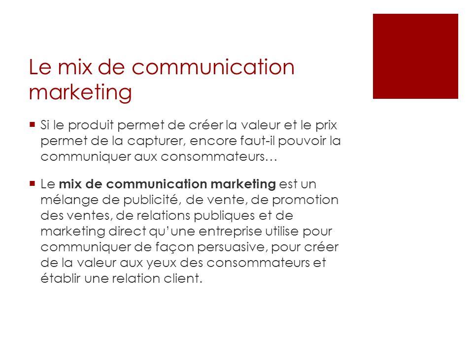 Le mix de communication marketing Si le produit permet de créer la valeur et le prix permet de la capturer, encore faut-il pouvoir la communiquer aux