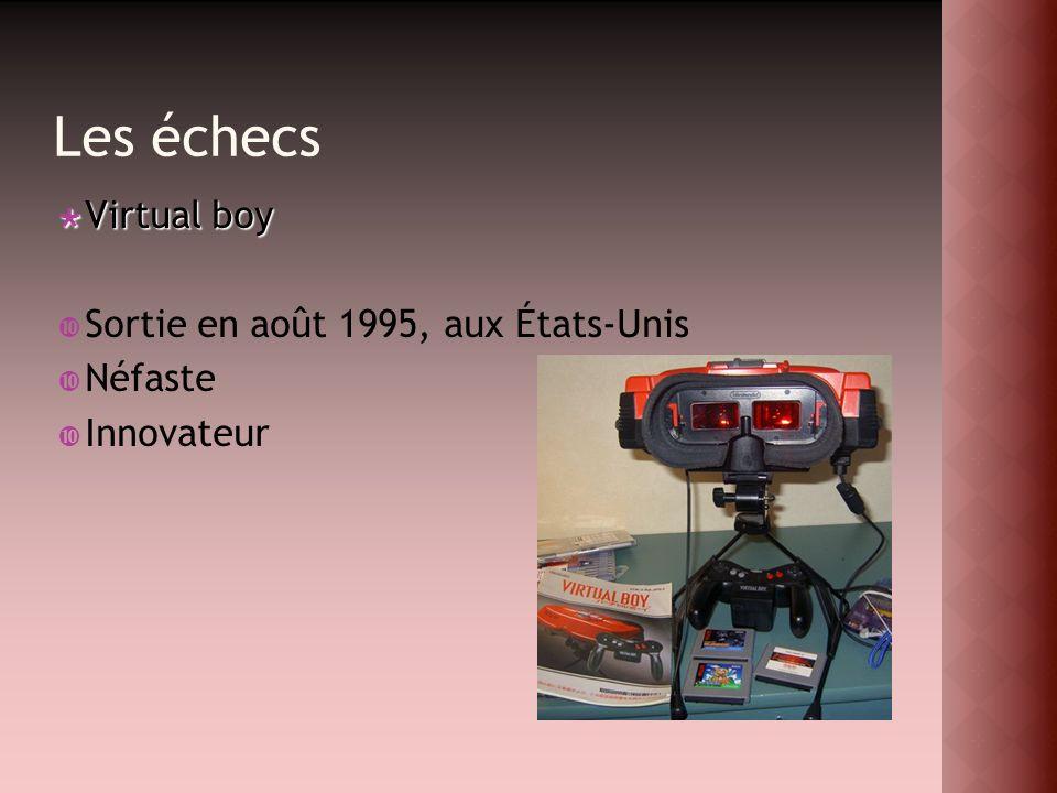 Les échecs Virtual boy Virtual boy Sortie en août 1995, aux États-Unis Néfaste Innovateur
