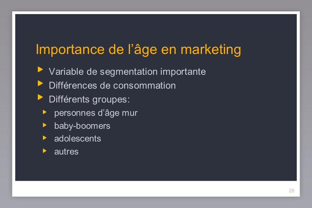 28 Importance de lâge en marketing Variable de segmentation importante Différences de consommation Différents groupes: personnes dâge mur baby-boomers adolescents autres 28