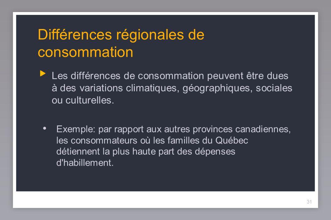 31 Différences régionales de consommation Les différences de consommation peuvent être dues à des variations climatiques, géographiques, sociales ou culturelles.