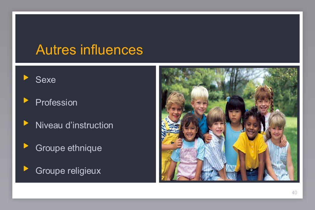 40 Autres influences Sexe Profession Niveau dinstruction Groupe ethnique Groupe religieux