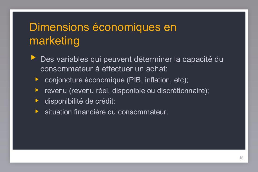 45 Dimensions économiques en marketing Des variables qui peuvent déterminer la capacité du consommateur à effectuer un achat: conjoncture économique (PIB, inflation, etc); revenu (revenu réel, disponible ou discrétionnaire); disponibilité de crédit; situation financière du consommateur.