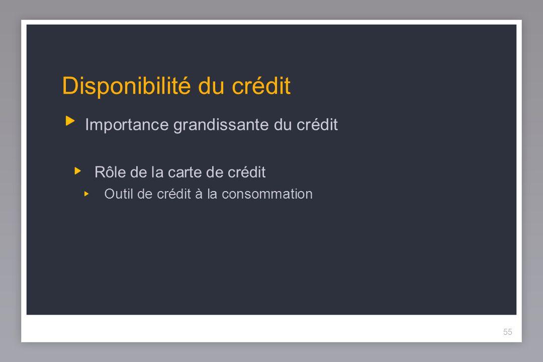 55 Disponibilité du crédit Importance grandissante du crédit Rôle de la carte de crédit Outil de crédit à la consommation 55