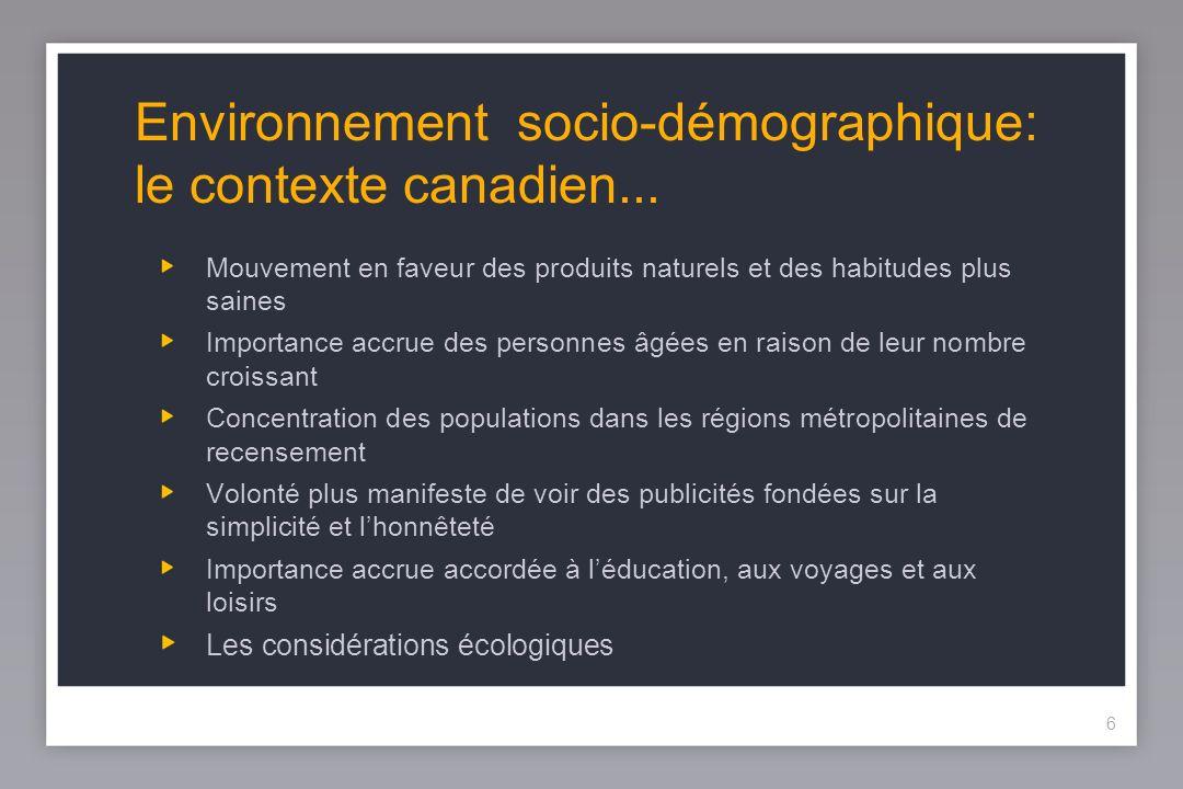 6 Environnement socio-démographique: le contexte canadien...