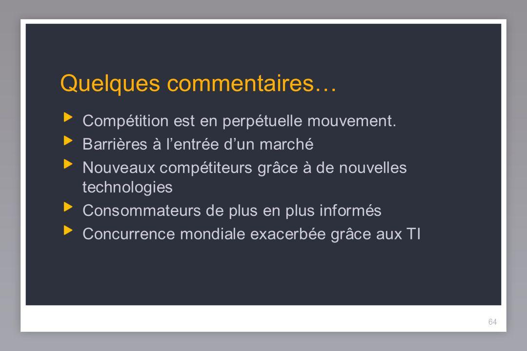64 Quelques commentaires… Compétition est en perpétuelle mouvement.