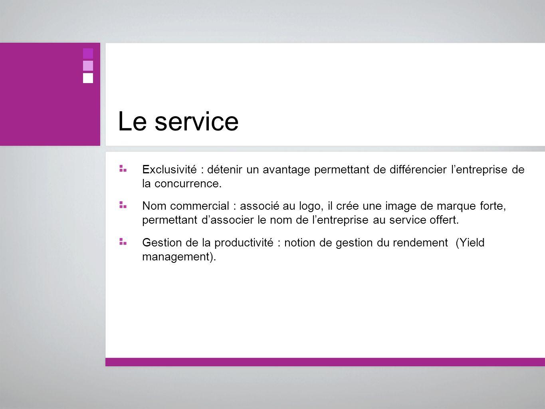 Le service Exclusivité : détenir un avantage permettant de différencier lentreprise de la concurrence. Nom commercial : associé au logo, il crée une i