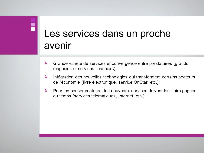 Les services dans un proche avenir Grande variété de services et convergence entre prestataires (grands magasins et services financiers); Intégration