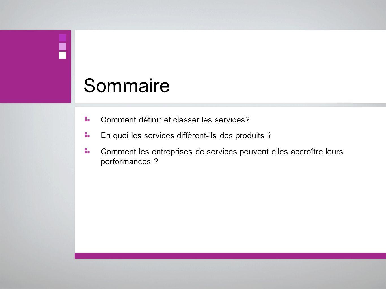 Sommaire Comment définir et classer les services? En quoi les services diffèrent-ils des produits ? Comment les entreprises de services peuvent elles