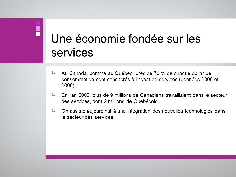 Une économie fondée sur les services Au Canada, comme au Québec, près de 70 % de chaque dollar de consommation sont consacrés à lachat de services (do