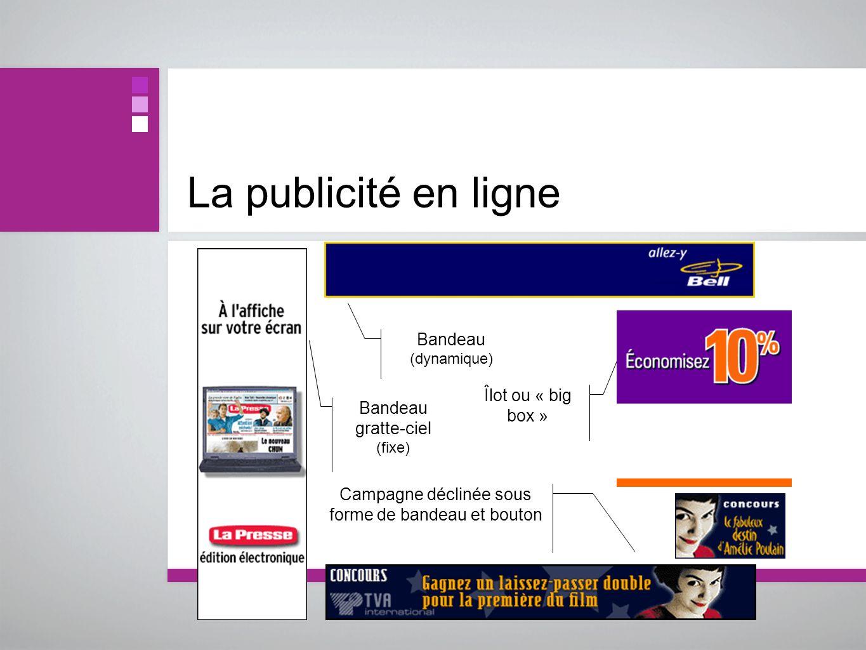 La publicité en ligne Bandeau gratte-ciel (fixe) Bandeau (dynamique) Campagne déclinée sous forme de bandeau et bouton Îlot ou « big box »
