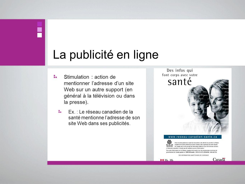 La publicité en ligne Stimulation : action de mentionner ladresse dun site Web sur un autre support (en général à la télévision ou dans la presse). Ex