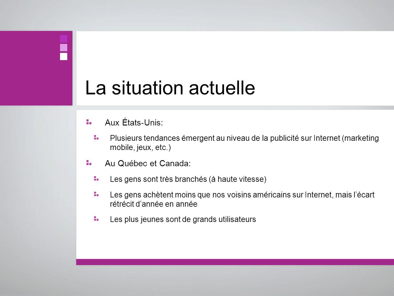 La situation actuelle Aux États-Unis: Plusieurs tendances émergent au niveau de la publicité sur Internet (marketing mobile, jeux, etc.) Au Québec et