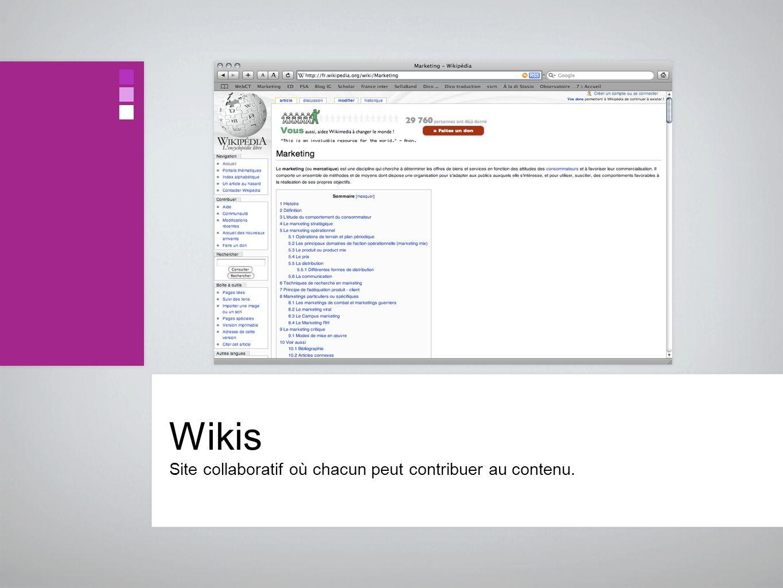Wikis Site collaboratif où chacun peut contribuer au contenu.