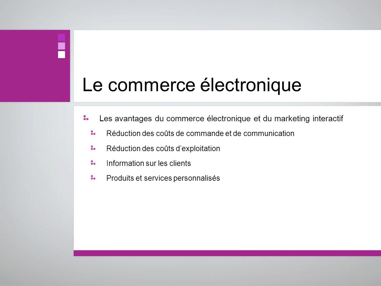 Le commerce électronique Les avantages du commerce électronique et du marketing interactif Réduction des coûts de commande et de communication Réducti