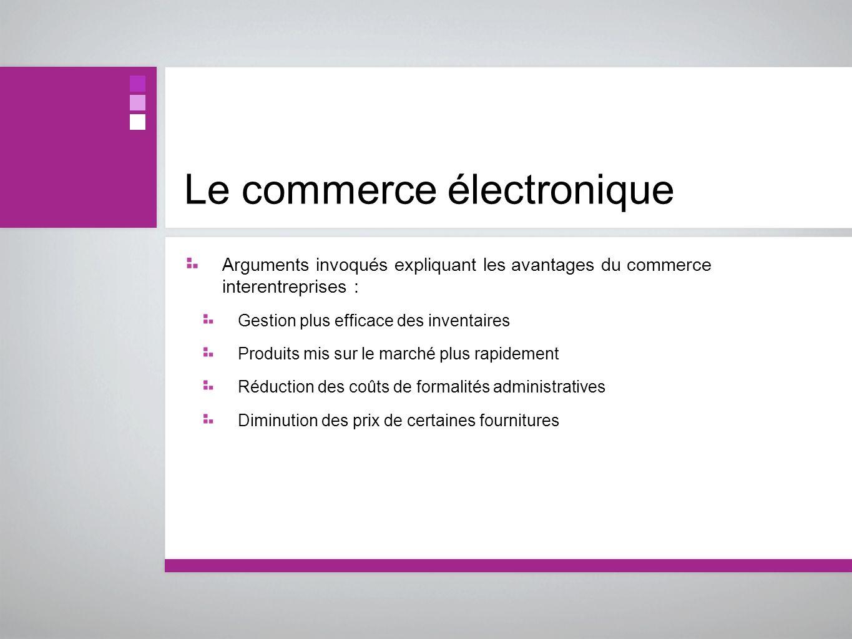 Le commerce électronique Arguments invoqués expliquant les avantages du commerce interentreprises : Gestion plus efficace des inventaires Produits mis