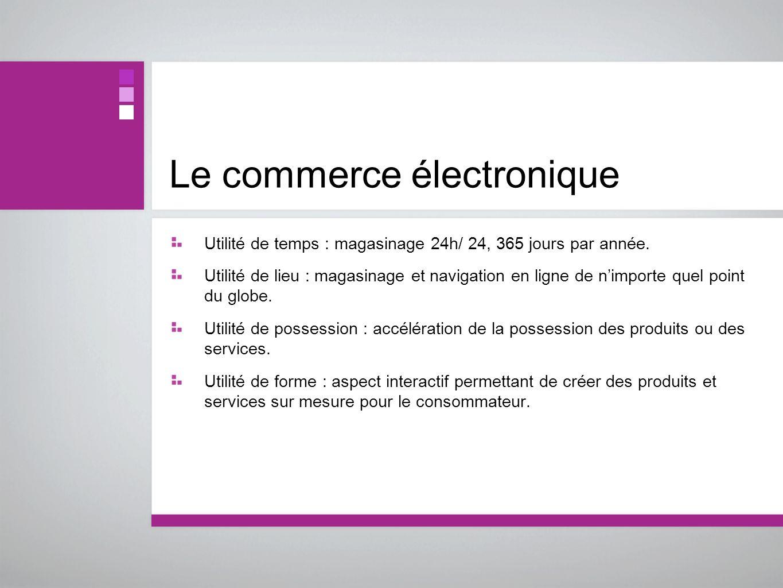 Le commerce électronique Utilité de temps : magasinage 24h/ 24, 365 jours par année. Utilité de lieu : magasinage et navigation en ligne de nimporte q
