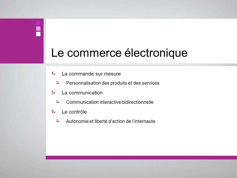 Le commerce électronique La commande sur mesure Personnalisation des produits et des services La communication Communication interactive bidirectionne