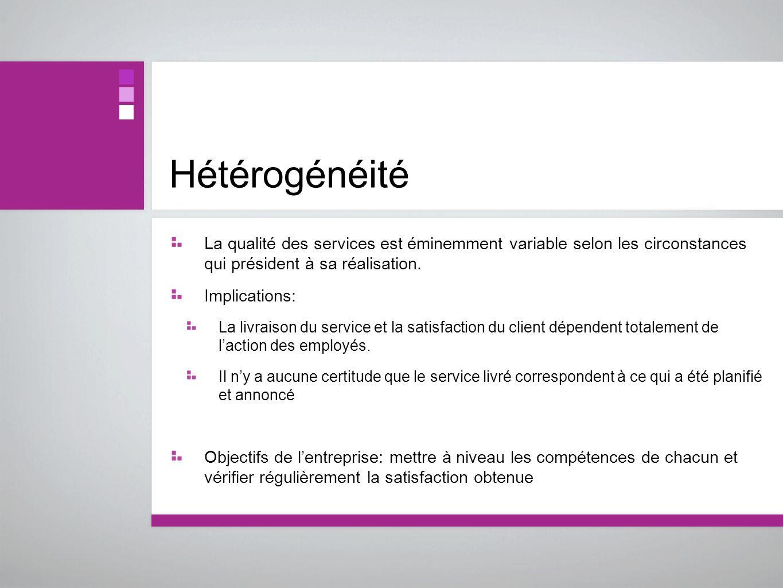 Hétérogénéité La qualité des services est éminemment variable selon les circonstances qui président à sa réalisation. Implications: La livraison du se