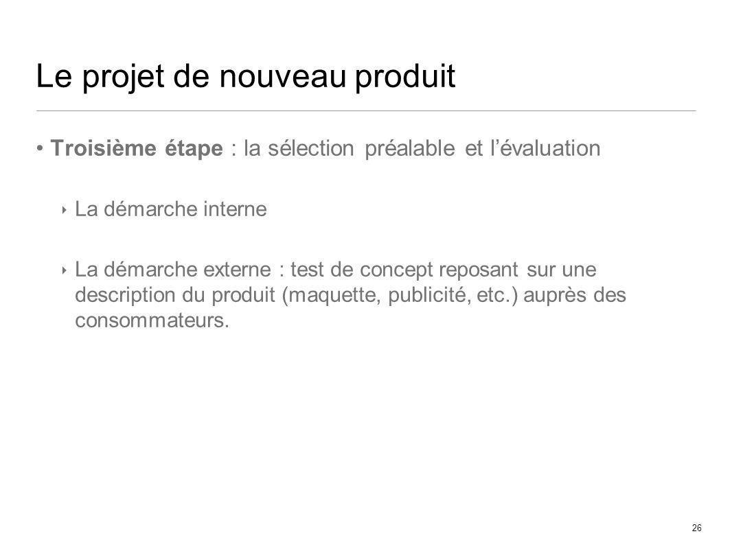26 Le projet de nouveau produit Troisième étape : la sélection préalable et lévaluation La démarche interne La démarche externe : test de concept repo