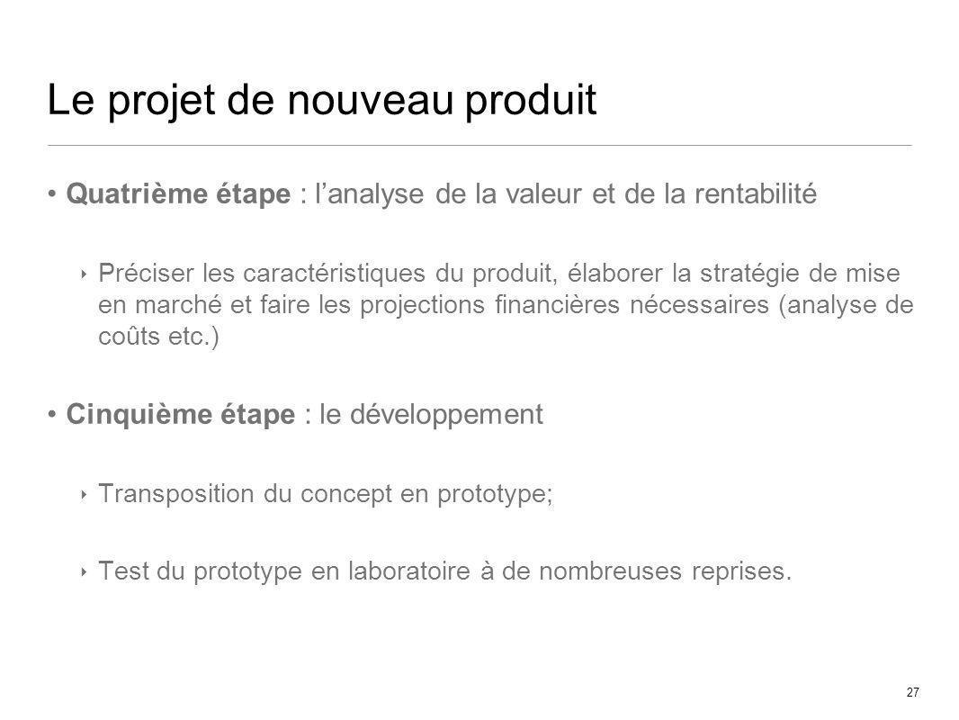 27 Le projet de nouveau produit Quatrième étape : lanalyse de la valeur et de la rentabilité Préciser les caractéristiques du produit, élaborer la str