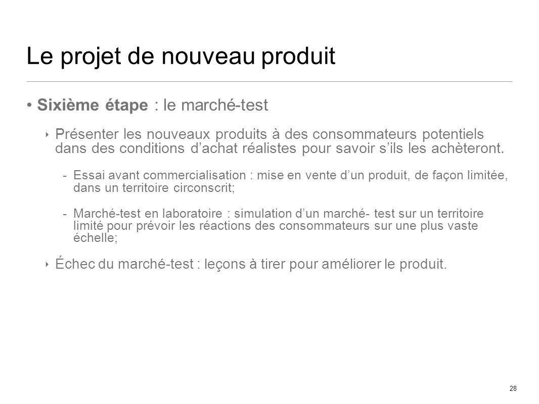 28 Le projet de nouveau produit Sixième étape : le marché-test Présenter les nouveaux produits à des consommateurs potentiels dans des conditions dach
