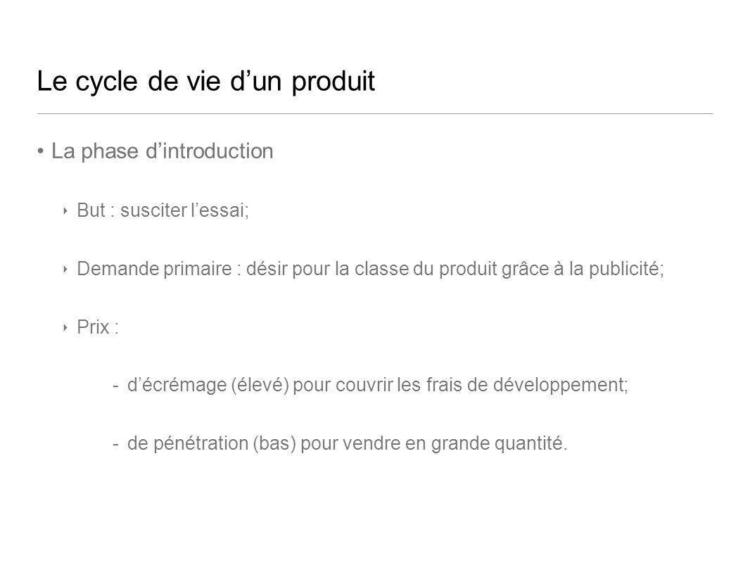 Le cycle de vie dun produit La phase dintroduction But : susciter lessai; Demande primaire : désir pour la classe du produit grâce à la publicité; Pri