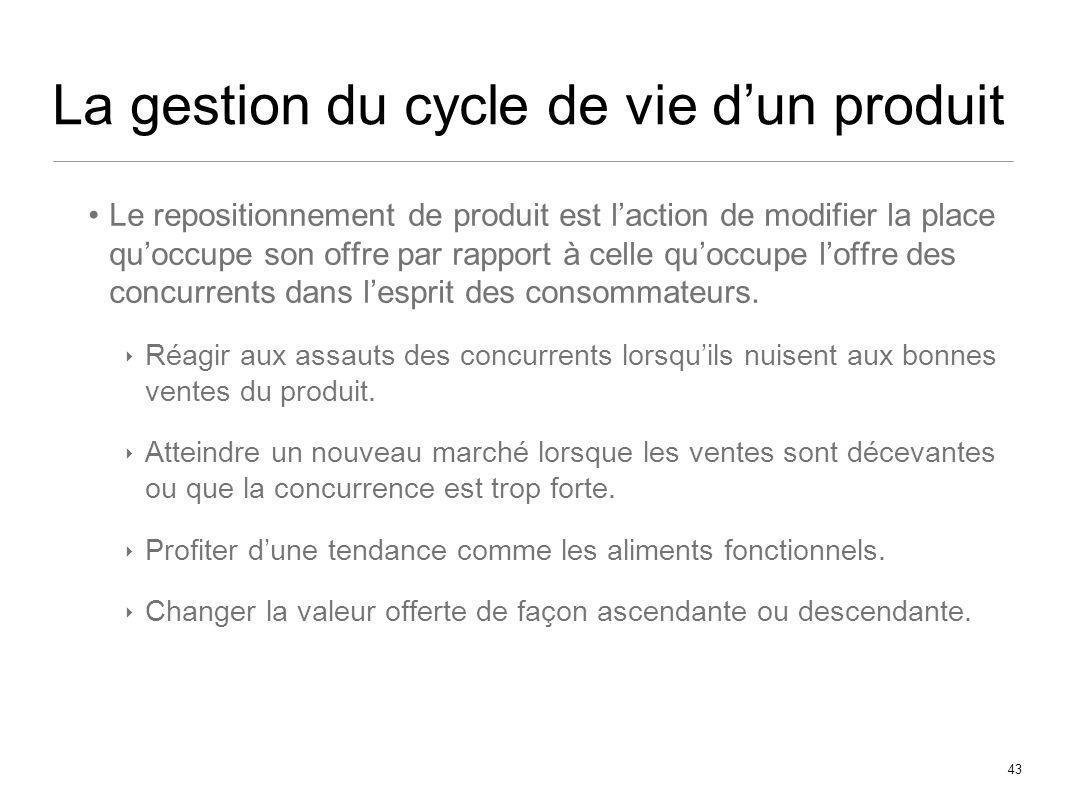 43 La gestion du cycle de vie dun produit Le repositionnement de produit est laction de modifier la place quoccupe son offre par rapport à celle quocc