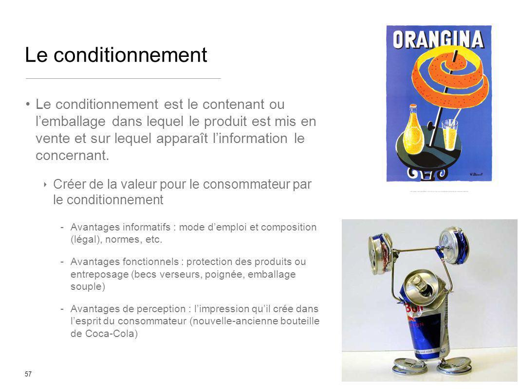 57 Le conditionnement Le conditionnement est le contenant ou lemballage dans lequel le produit est mis en vente et sur lequel apparaît linformation le
