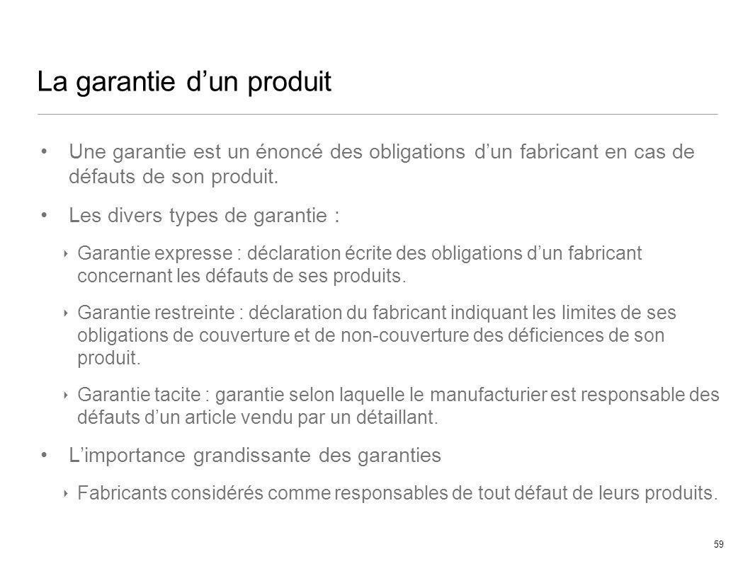 59 La garantie dun produit Une garantie est un énoncé des obligations dun fabricant en cas de défauts de son produit. Les divers types de garantie : G