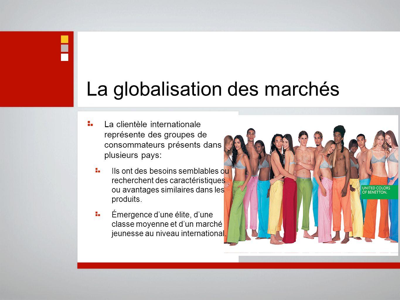 La globalisation des marchés La clientèle internationale représente des groupes de consommateurs présents dans plusieurs pays: Ils ont des besoins sem