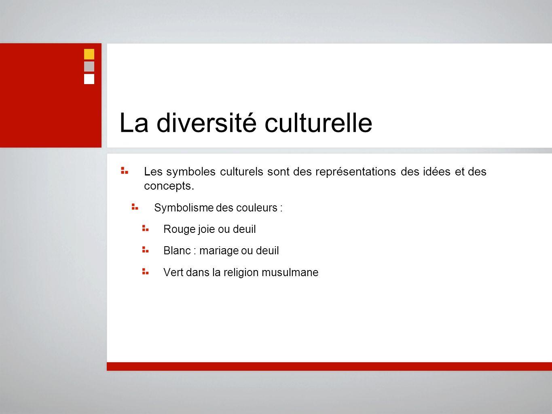 La diversité culturelle Les symboles culturels sont des représentations des idées et des concepts. Symbolisme des couleurs : Rouge joie ou deuil Blanc