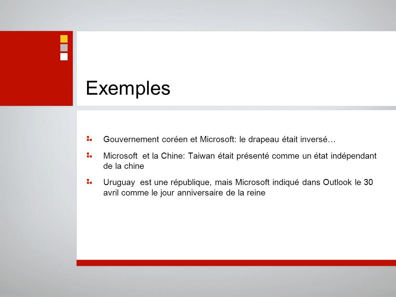 Exemples Gouvernement coréen et Microsoft: le drapeau était inversé… Microsoft et la Chine: Taiwan était présenté comme un état indépendant de la chin