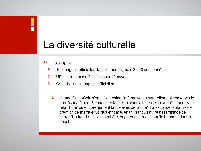 La diversité culturelle La langue 100 langues officielles dans le monde, mais 3 000 sont parlées; UE : 11 langues officielles pour 15 pays; Canada : d