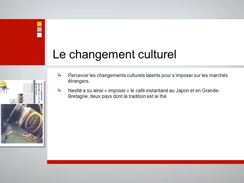 Le changement culturel Percevoir les changements culturels latents pour simposer sur les marchés étrangers. Nestlé a su ainsi « imposer » le café inst