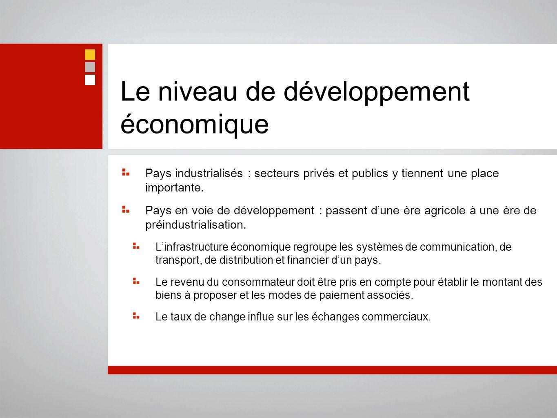 Le niveau de développement économique Pays industrialisés : secteurs privés et publics y tiennent une place importante. Pays en voie de développement