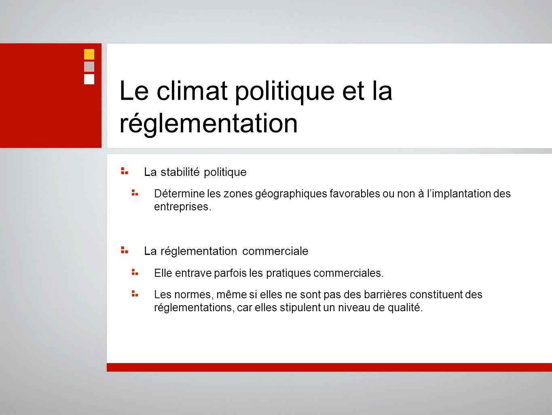 Le climat politique et la réglementation La stabilité politique Détermine les zones géographiques favorables ou non à limplantation des entreprises. L