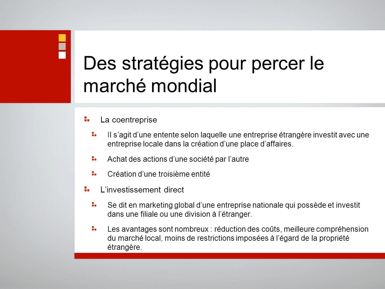 Des stratégies pour percer le marché mondial La coentreprise Il sagit dune entente selon laquelle une entreprise étrangère investit avec une entrepris