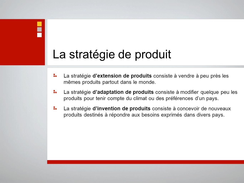 La stratégie de produit La stratégie dextension de produits consiste à vendre à peu près les mêmes produits partout dans le monde. La stratégie dadapt