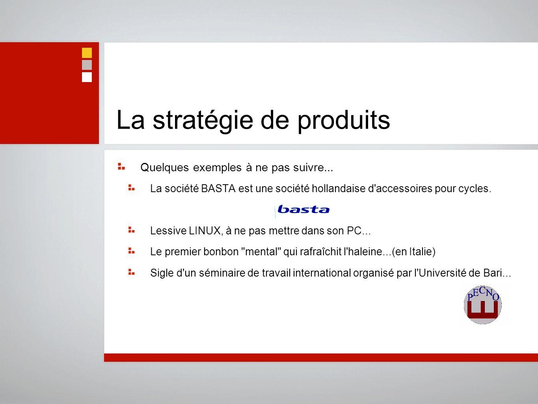 La stratégie de produits Quelques exemples à ne pas suivre... La société BASTA est une société hollandaise d'accessoires pour cycles. Lessive LINUX, à
